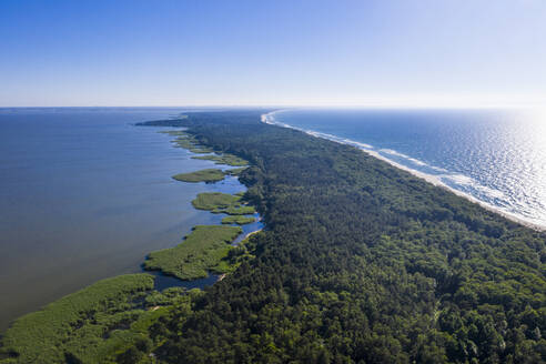 Aerial view of seascape against clear sky during sunny day, Curonian Spit, Russia - RUNF02911