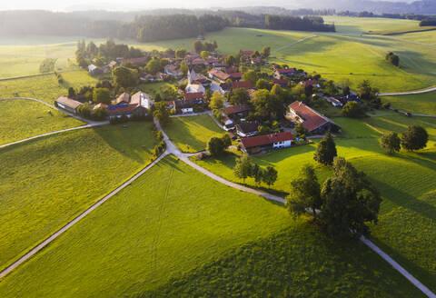 Aerial view of landscape at Peretshofen near Dietramszell in morning, Tölzer Land, Upper Bavaria, Bavaria, Germany - SIEF08978