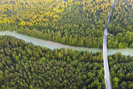 Aerial view of Tattenkofen bridge over Isar River near Geretsried, Nature Reserve Isarauen, Upper Bavaria, Bavaria, Germany - SIEF08981