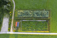 Aerial view of biological wastewater treatment plant in Peretshofen near Dietramszell, Tölzer Land, Upper Bavaria, Bavaria, Germany - SIEF08984