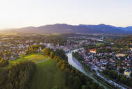 Aerial view of Calvary hill and Isar river against sky, Isarwinkel, Upper Bavaria, Bavaria, Germany - SIEF08987