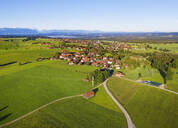 Aerial view of landscape at Königsdorf with Alpine Chain in background, Tölzer Land, Upper Bavaria, Bavaria, Germany - SIEF08993
