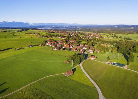 Aerial view of landscape at Königsdorf with Alpine Chain in background, Tölzer Land, Upper Bavaria, Bavaria, Germany - SIEF08993