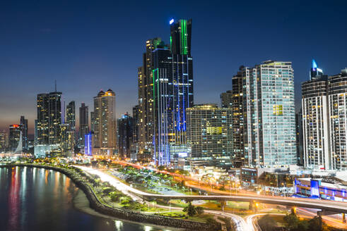 The skyline of Panama City at night, Panama City, Panama, Central America - RHPLF08727