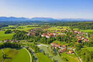 Aerial view of Beuerberg against clear blue sky, Bavaria, Germany - LHF00682