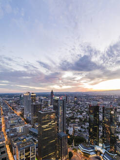 Cityscape against sky during sunset, Frankfurt, Hesse, Germany - WDF05493