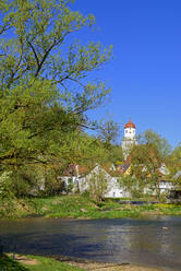 St. Barbara church by river against clear blue sky, Harburg, Germany - LBF02709