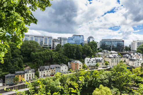 High angle view of modern and residential buildings against sky in Luxembourg - RUNF03043