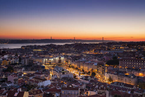 High angle view of buildings at dusk in Lisbon, Portugal - XCF00198