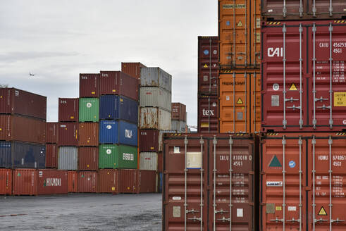 Cargo containers at commercial dock in Frankfurt Osthafen, Germany - BSC00604