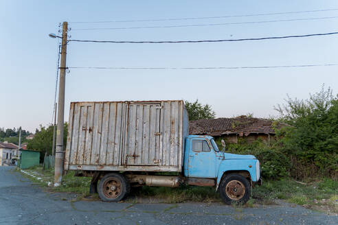 Old truck parked in the countryside, Strandja mountains, Bulgaria - AFVF03926