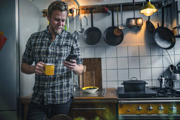 Man in kitchen at home using cell phone - RIBF01062
