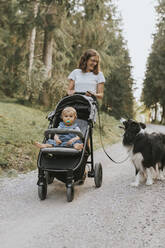 Mother with baby in stroller and dog walking on forest path - DWF00513