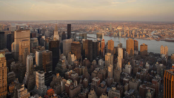 High angle view of buildings in Manhattan during sunset, New York City, USA - XCF00204