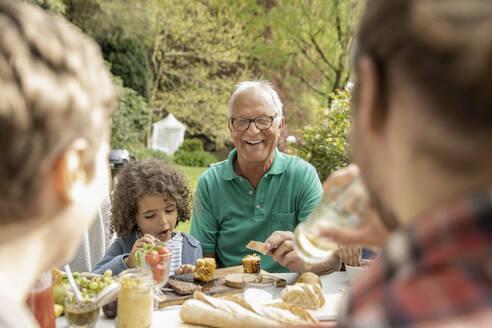 Extended family having lunch in garden - MJFKF00054