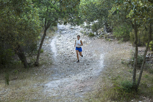 Young Asian jogger on a forest path - JPTF00296