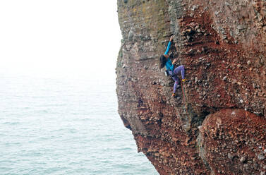 Rock climber in action, Watcombe Beach, South Devon, England, United Kingdom, Europe - RHPLF09205