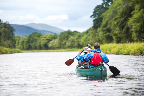 Canoeing the Caledonian Canal, near Fort William, Scottish Highlands, Scotland, United Kingdom, Europe - RHPLF09211