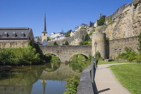Stierchen stone footbridge and Brock Promontory, Luxembourg City, Luxembourg, Europe - RHPLF09373