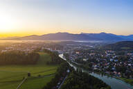 Aerial view of Bad Toelz against clear sky during sunrise, Isarwinkel, Germany - LHF00701