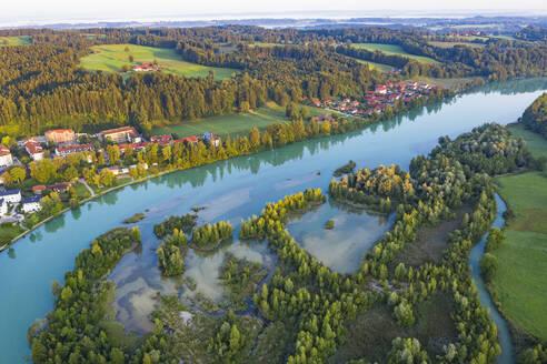 Aerial view of Isar reservoir at Bad Toelz, Isarwinkel, Germany - LHF00704