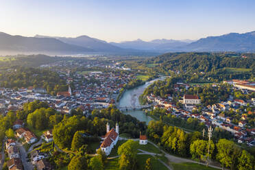 Aerial view of Bad Toelz against clear sky during sunrise, Bavaria, Germany - LHF00707