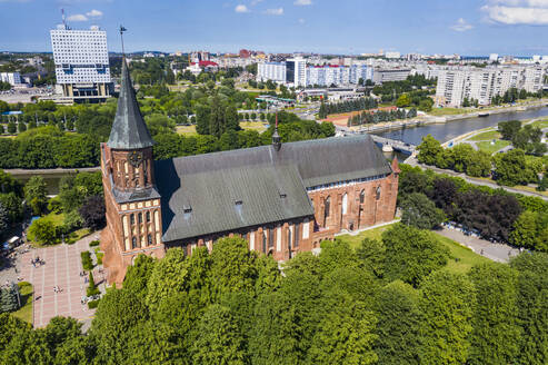 High angle view of Kant's Cathedral during sunny day, Kant island, Kaliningrad, Russia - RUNF03121