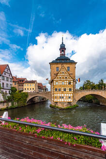 Altes Rathaus (old townhall) at the historic center of Bamberg, UNESCO World Heritage Site, Bavaria, Germany, Europe - RHPLF10056