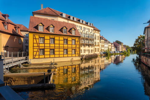 Historic houses by the river in the city center of Bamberg, UNESCO World Heritage Site, Bavaria, Germany, Europe - RHPLF10065