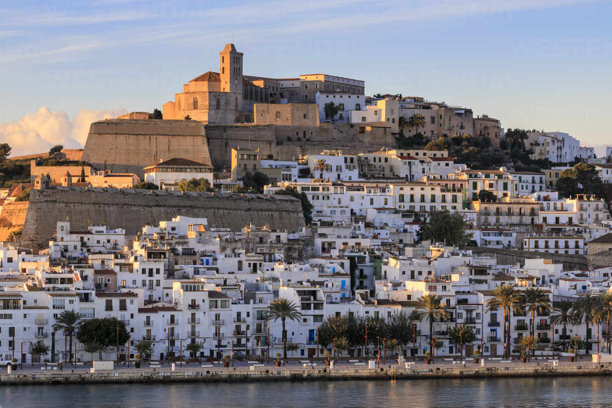 Waterfront and fortified historic old town, Dalt Vila, cathedral, at  sunrise, Ibiza Town, Eivissa, Balearic Islands,