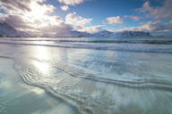 Waves of the icy sea, Ramberg, Flakstad municipality, Lofoten Islands, Nordland, Norway, Europe - RHPLF10605