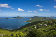 Tranquil view of Caribbean sea against blue sky, British Virgin Islands - RUNF03149