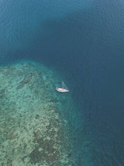 Aerial view of ship at Gili-Air Island in Bali, Indonesia - KNTF03427