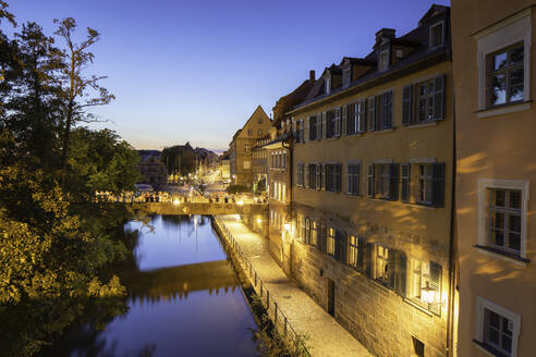 Buildings along River Regnitz at dusk, Bamberg, UNESCO World Heritage Site, Bavaria, Germany, Europe - RHPLF11112