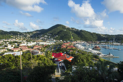 High angle view of boats moored at harbor against sky at Charlotte Amalie, US Virgin islands - RUNF03205