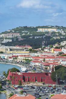 High angle view of Charlotte Amalie against sky, US Virgin islands - RUNF03208