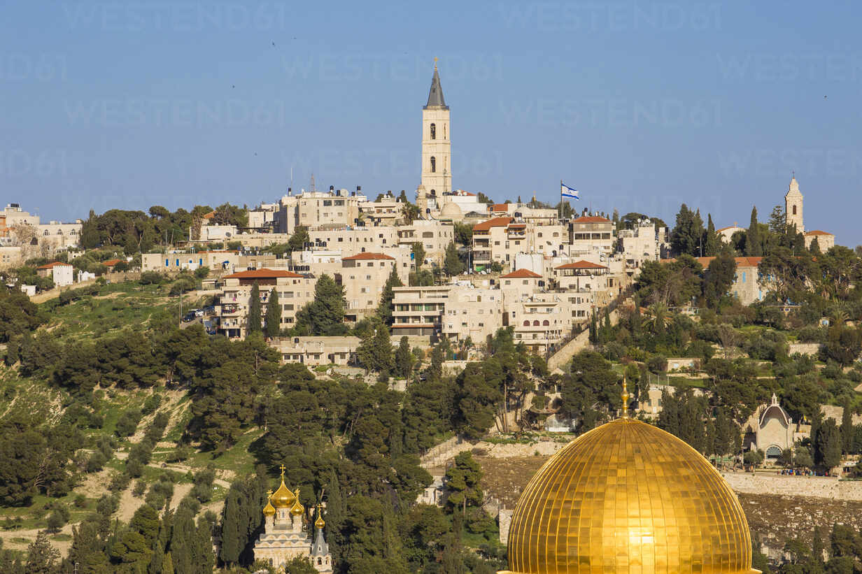 View towards Temple Mount and the Mount of Olives, Jerusalem, Israel, Middle East - RHPLF11771 - RHPL/Westend61