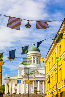 Bunting in front of Helsinki Cathedral in Helsinki, Finland, Europe - RHPLF11960