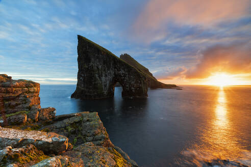 Drangarnir at sunset, Vagar island, Faroe Islands, Denmark, Europe - RHPLF12095