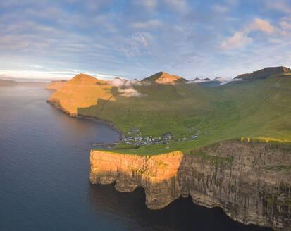 Aerial panoramic of of Gjogv, Eysturoy island, Faroe Islands, Denmark, Europe - RHPLF12107