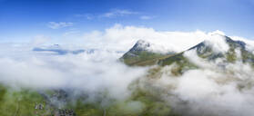 Aerial panoramic of clouds above Gjogv, Eysturoy island, Faroe Islands, Denmark, Europe - RHPLF12125