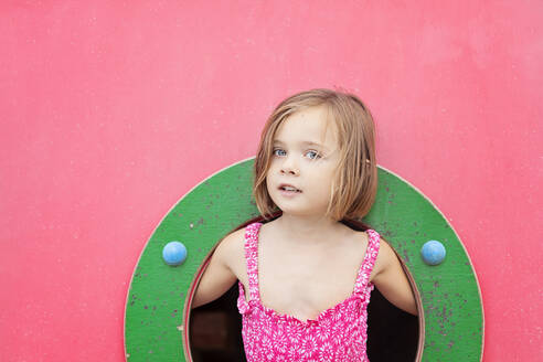Portrait of toddler girl on playground in summer - XCF00221