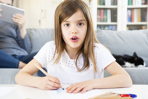 Portrait of girl drawing with coloured pencil at home - LVF08267