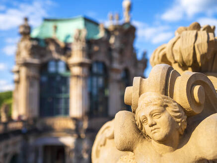 Close-up of statue against Zwinger palace in Dresden, Germany - LAF02375
