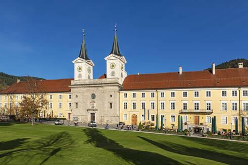Tegernsee Abbey and St. Quirinus Church against clear blue sky in Bavaria, Germany - LHF00717