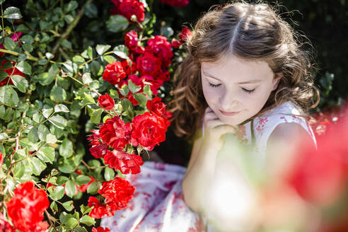 Portrait of girl with eyes closed sitting beside red rosebush - STBF00407
