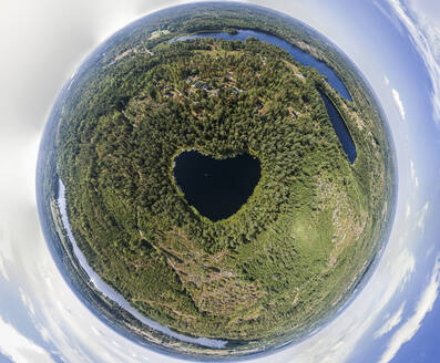 Heart-shaped lake surrounded by forest - JOHF01461