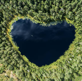 Heart-shaped lake surrounded by forest - JOHF01464