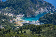 High angle view of Paleokastritsa in Corfu island at Greece - RUNF03320
