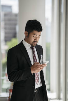 Young businessman using cell phone - JPIF00200